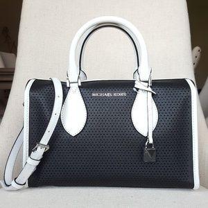 NWT Michael Kors SM Lacey Duffle Bag black white